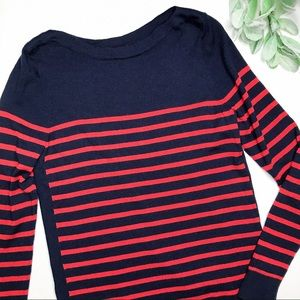 JONES NEW YORK | sz L navy stripe boatneck sweater